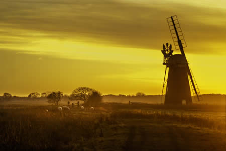 Norfolk Windmill at sunset